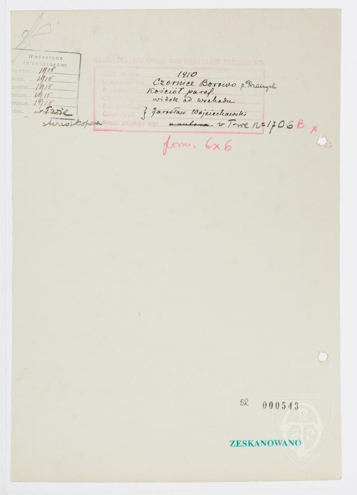 Karton verso: Czernice Borowo